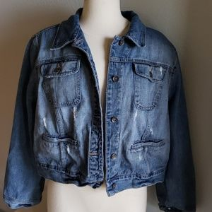 Mossimo Distressed Denim Jean Jacket Plus 22w